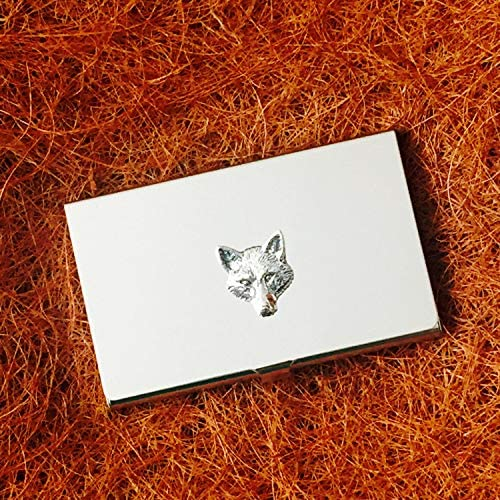 Really Useful Gifts Antique Pewter Fox Head Emblem on a Chrome Card Holder Gift