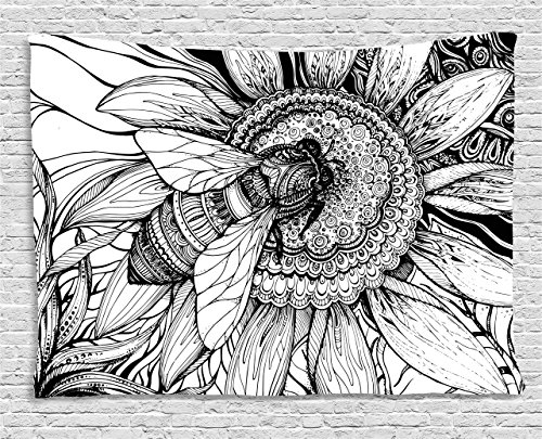 Ambesonne Nature Decor Tapestry by, Bee on a Flower Honey Pollen Floral Mother Earth Phase Wildlife Digital Print, Wall Hanging for Bedroom Living Room Dorm, 80WX60L Inches, Black White