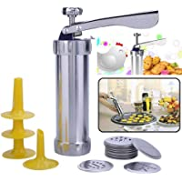 N/X qiuQIlIN Cookie Press Stainless Steel Biscuit Press Cookie Gun Set for DIY Biscuit Maker and Decoration