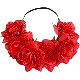 Kanggest Diadema de Flores Mujer Venda de Pelo Alta Elasticidad Rosas y Hoja Cinta de Pelo Banda Para la Cabeza Para Adornos Para el Pelo Boda(Rojo)