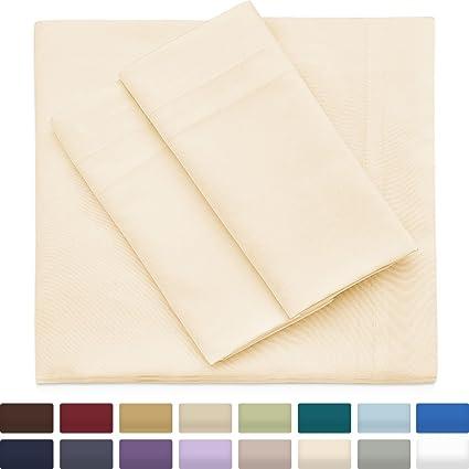 Premium Bamboo Bed Sheets   Queen Size, Cream Sheet Set   Deep Pocket    Ultra