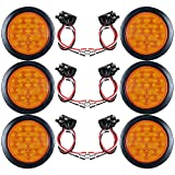 """AMBER 4"""" Round 12-LED Truck RV Trailer Tail Turn Signal Light with Rubber Cover Wiring Plug Kit (6pcs)"""