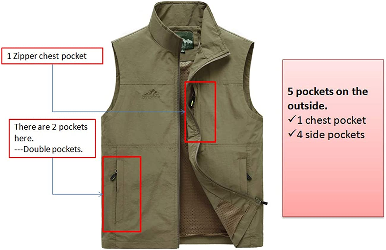 Duyang Mens Outdoor Lightweight Photo Vest Fishing Travel Safari Vest