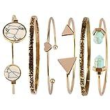 Beauty7 6PCS Love Freedom Power Turquoise Triangle Knot Stackable Open Cuff Bracelet Set Bangle Women