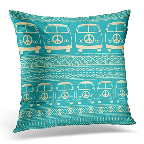 Duplins Throw Pillow Cover Hippie Vintage Car Minivan Ornamental Love and Music with Doodle and Hippy Color Retro 1960S 70S Style Decorative Pillow Case Home Decor Square 18x18 Inches Pillowcase (Van Hippy)