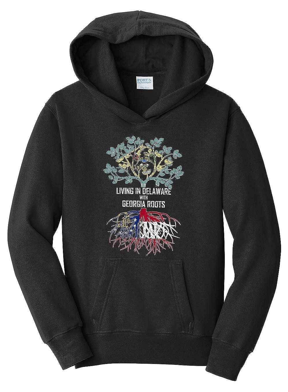 Tenacitee Girls Living in Delaware with Georgia Roots Hooded Sweatshirt