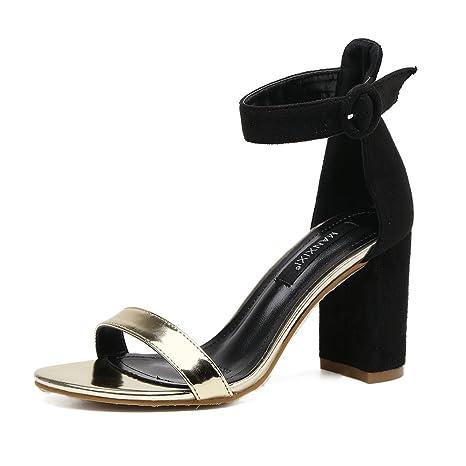 RUGAI-UE Sandali donna nuovo stile europeo e americano in pelle scamosciata, dita dei piedi, sandali, sandali,...