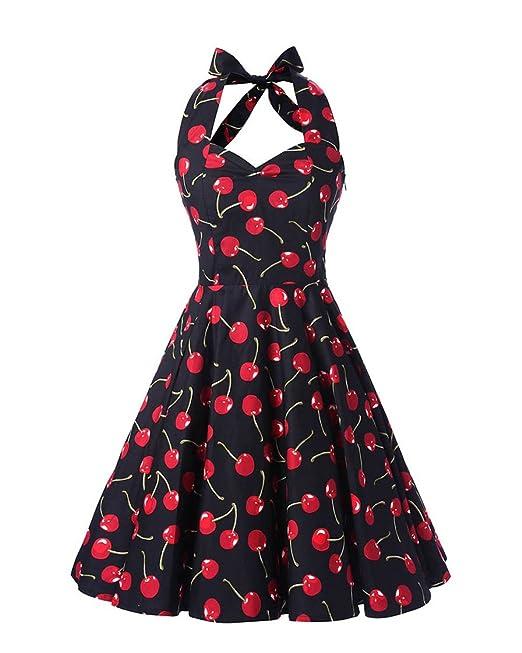 MISSMAO Mujer 50s Hepburn Halter estilo vintage delgados vestidos de algodón impresas falda estilo pastoral S