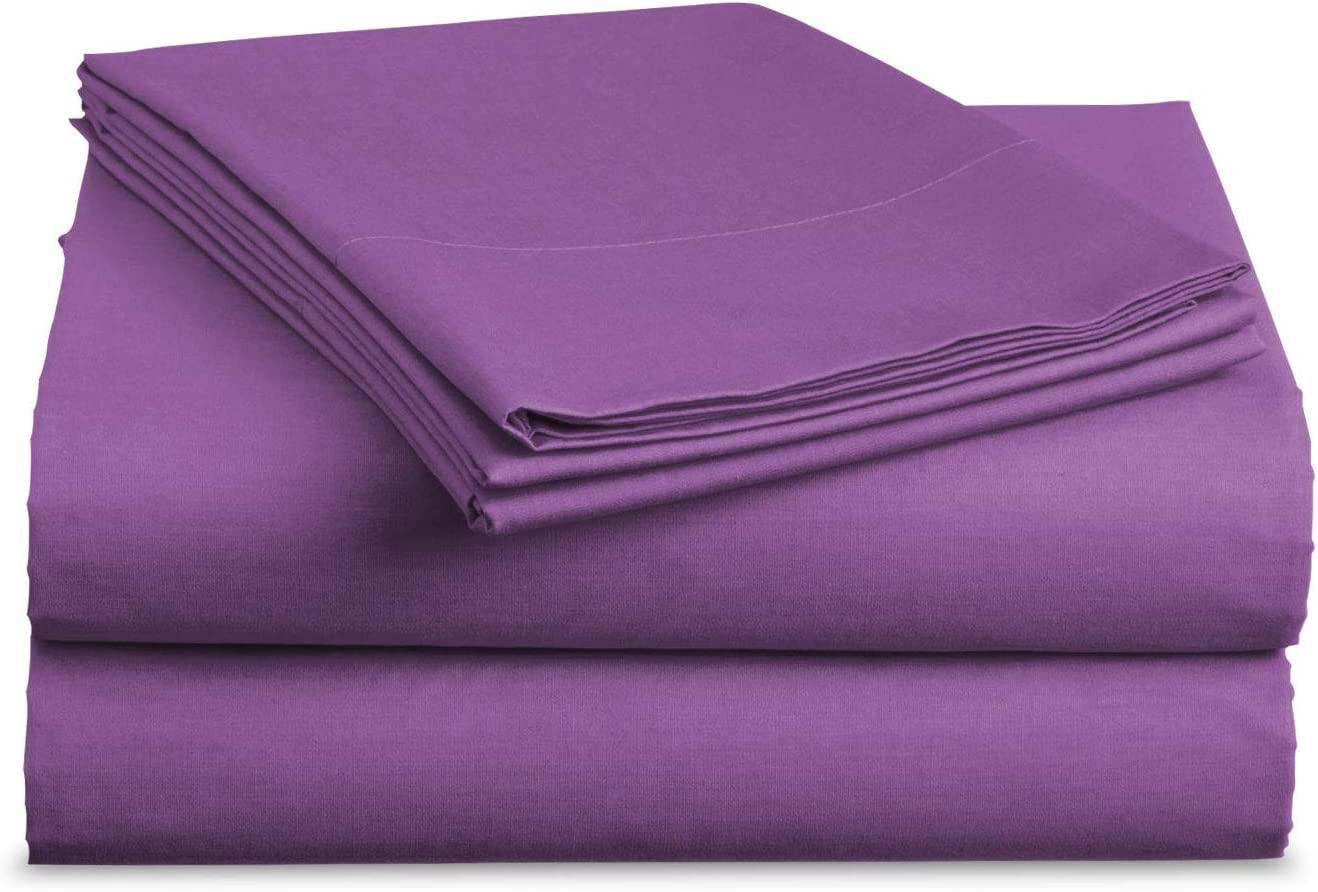 Luxe Bedding Sets - Microfiber Twin Sheet Set 3 Piece Bed Sheets, Deep Pocket Fitted Sheet, Flat Sheet, Pillow Case Twin Size - Purple