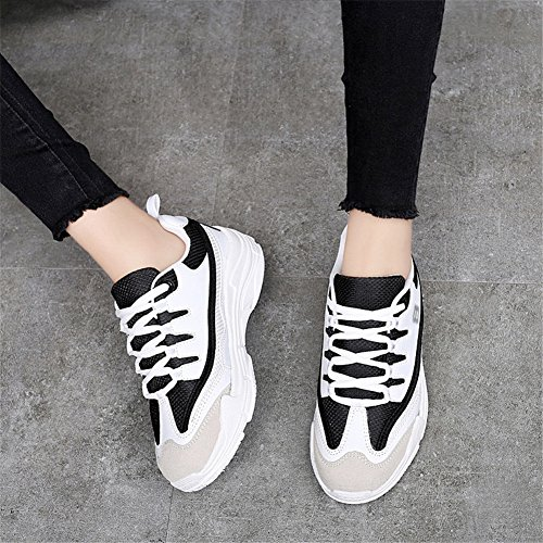 XUE Women's Shoes Tulle Breathable Spring Fall Lace up Lightweight Casual Outdoor Sport Running Shoes White, Black, White and Black C