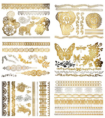 Henna Inspired Temporary Metallic Tattoos - Over 75 Designs (6 Sheets) Gold and Silver Terra Tattoos Dawn Collection ()