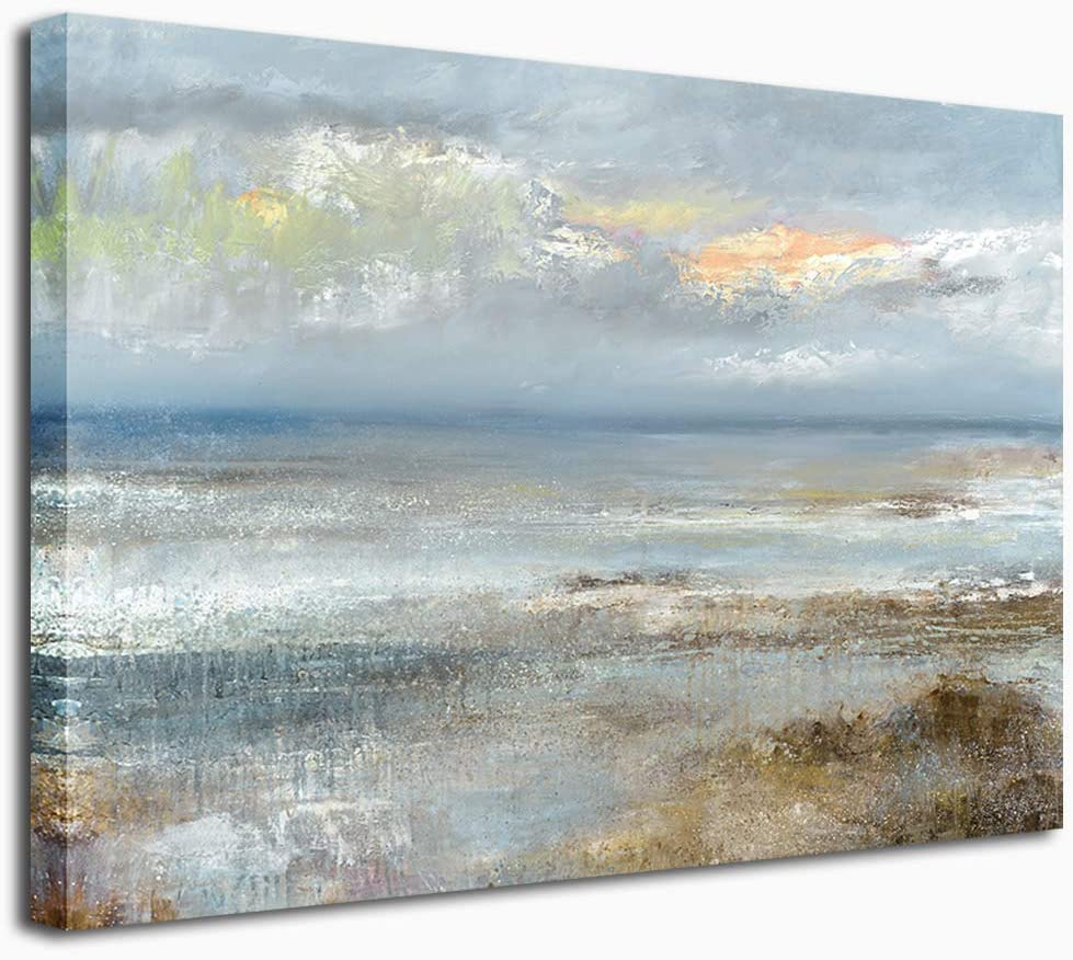"Abstract Wall Art Beach Canvas Pictures Contemporary Canvas Artwork Sea Landscape Canvas Art Prints for Living Room Bedroom Office Kitchen Wall Decor Framed Ready to Hang 30"" x 40"""