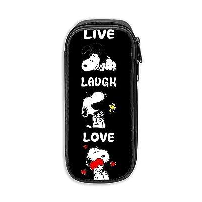 """""""Live Laugh Love Snoopy Estuche para lápices, Bolso de lona, Bolso portátil para estudiantes de oficina con cremalleras para niños, niñas y adultos"""": Oficina y papelería"""