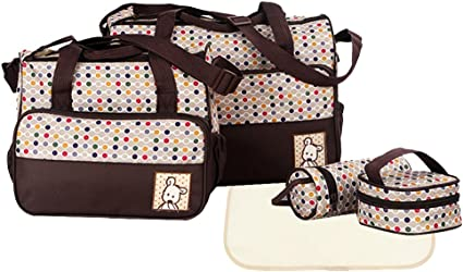 Yummy Mummy Maternity Baby Nappy Diaper Changing Bag 5pcs Wipe Clean Waterproof