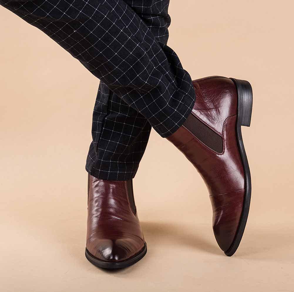 GLSHI Männer Leder Stiefel England Spitz Stiefel Füße Füße Füße Gemütlich Leder Stiefel 74598d