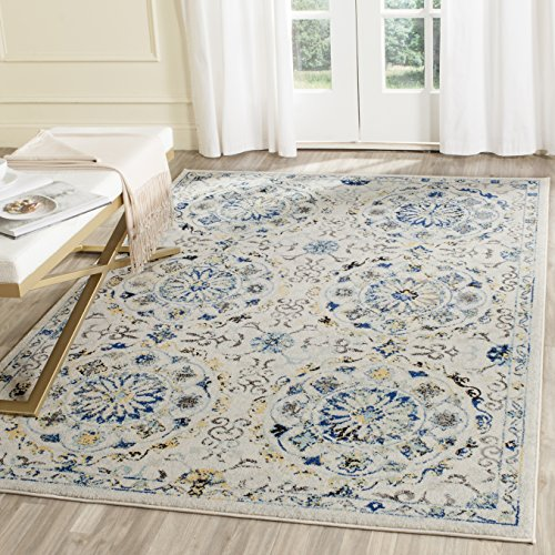Safavieh Evoke Collection EVK252C Ivory and Blue Area Rug 4 x 6
