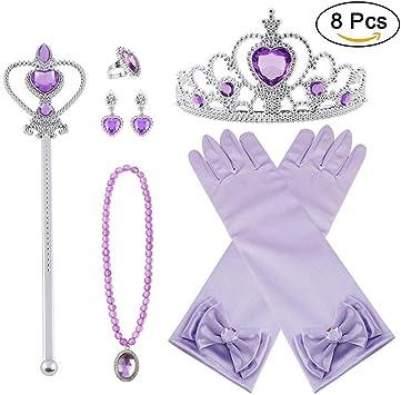 8 pezzi Princess Dress-Up Accessori per feste con CORONA BACCHETTA Guanti Collana Orecchio
