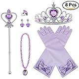 Vicloon Princesa Vestir Accesorios 8 Pcs Regalo Conjunto de Belleza Corona Anillo Sceptre Collar Pendientes Guantes para Niña (Violeta)