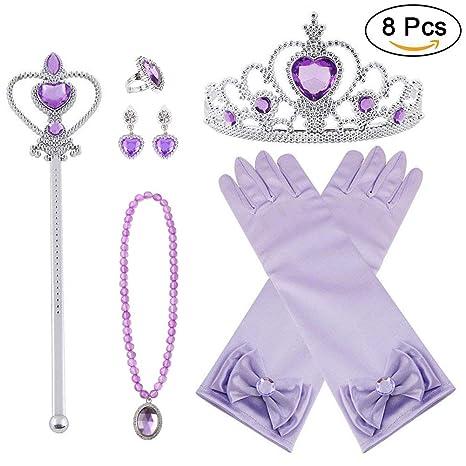 421925b8bc05 Vicloon Princesa Vestir Accesorios 8 Pcs Regalo Conjunto de Belleza Corona  Anillo Sceptre Collar Pendientes Guantes