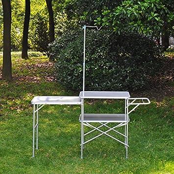 Outsunny al Aire Libre Gran Campo Cocina portátil Plegable Mesa de Picnic Barbacoa de jardín Plegable Mesa de Comedor Patio Parte Aluminio W/Gancho ...