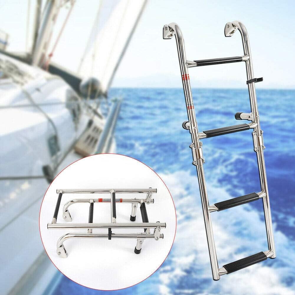2020 Plataforma de natación de 4 peldaños de acero inoxidable de grado marino telescópica plegable: Amazon.es: Deportes y aire libre