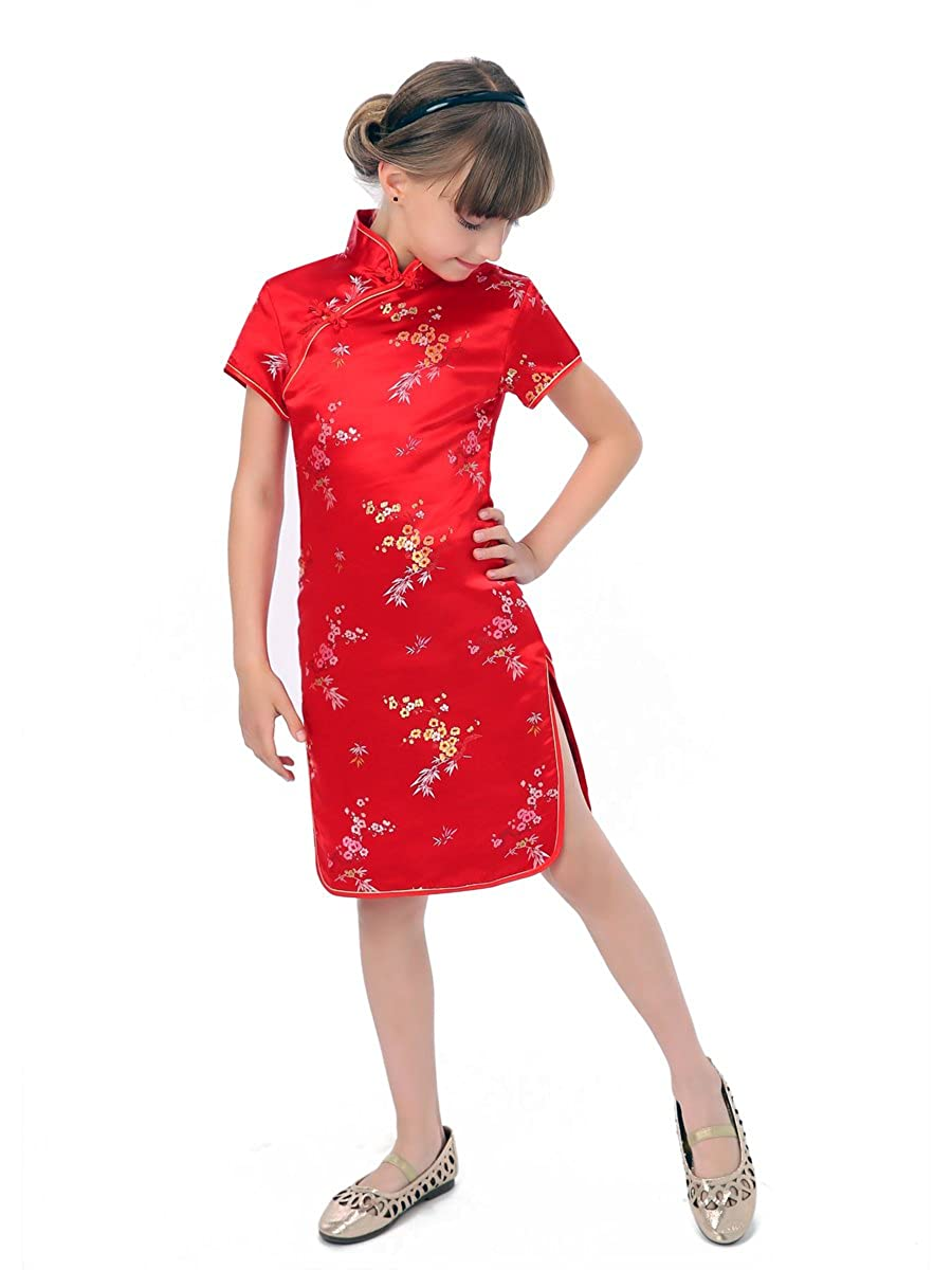Blossom and Leaves Little Chinese Qipao Dress Red RZ780107