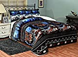 Fancy Collection 3 Pc Blanket Sumptuously Soft Plush Wolf Blue Black Indian With Sherpa Winter Blankets Bedspread Super Soft New # Wolf Blue (Queen)