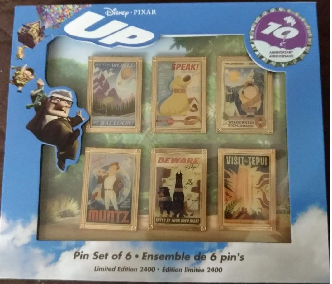 Pixar - UP 10th year anniversary Pin set of 6 Limited Edition 2400