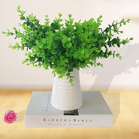 Artificial Shrubs, YSBER 5PCS /10PCS Plastic Eucalyptus Leaves Bushes Fake  Simulation Greenery Plants Indoor
