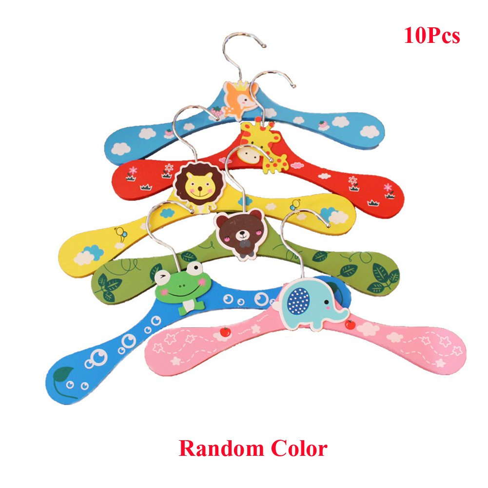 Lzttyee 10pcs Children Cute Cartoon Animal Wooden Clothes Hangers Coats Pants Hook Hanger Rack Stands Random Color