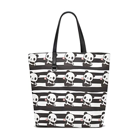 766ffdac2 Amazon.com   Panda Stripes Reusable Portable Large Storage Tote Bag  Shopping Bag Travel Zipper Bag Handbag Shoulder Tote.   Luggage & Travel  Gear