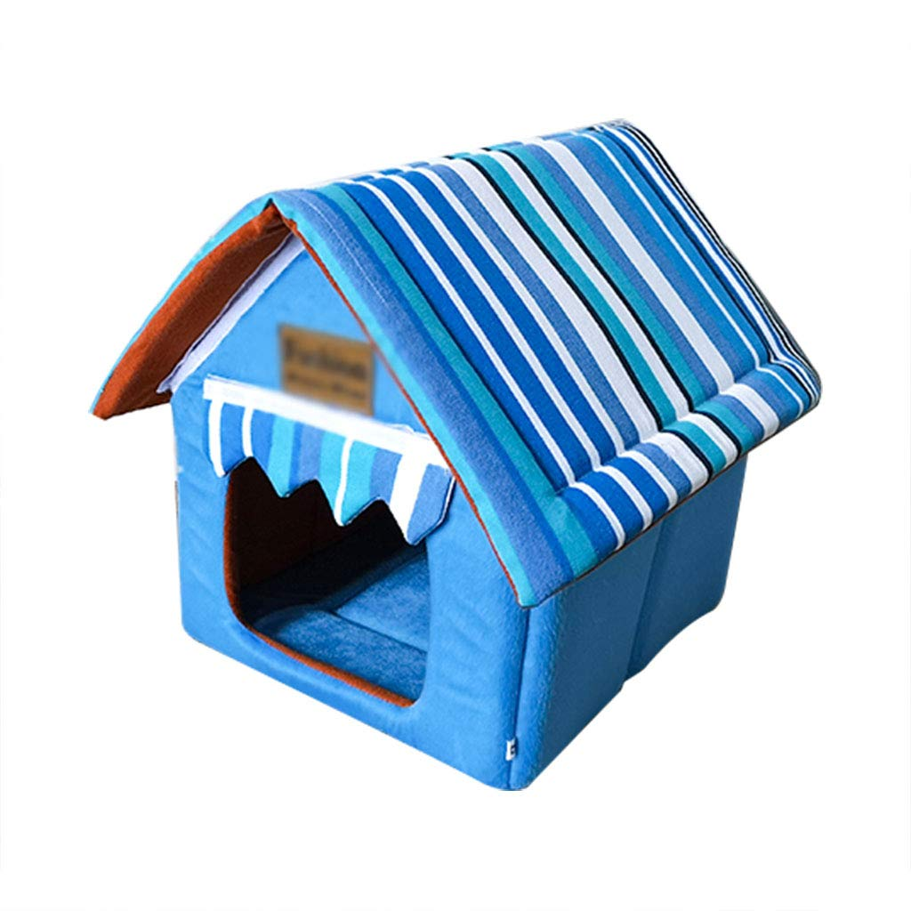 Navy bluee 323236cmYANQ Detachable Small Dog Kennel Four Seasons Universal House Villa Winter Warm Closed (color   Red, Size   45  45  52cm)
