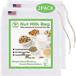 YUJEECO Nut Milk Bag Reusable Filter - Pack 2 Food Strainer Kitchen Fine Mesh Nylon Filter Bag for Almond Milk Cheese Yogurt Coffee Brew Wine Tea Juice