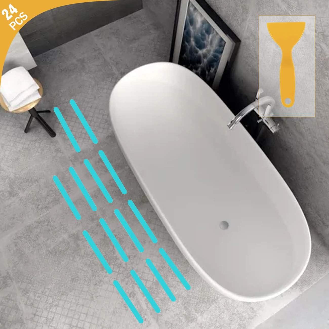 pour Baignoire Escaliers Salle de Douche Surfaces Glissantes 14 Pi/èces Autocollants de Baignoire Antid/érapants avec Une Spatule en Plastique Autocollants Antid/érapants en Forme de Fleur