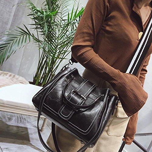 zarupeng Bolsos de hombro de cuero retro de las mujeres con bolso del bolso de Crossbody negro