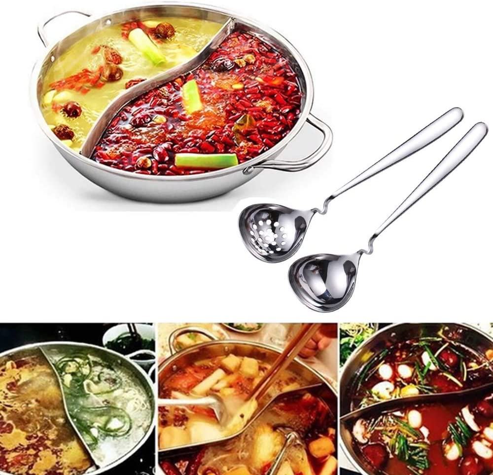 YISHIYI Hot Pot Cooker with Divider, Stainless Steel Chinese Hot Pot with Spoon, Slotted Spoon (28 cm diameter)