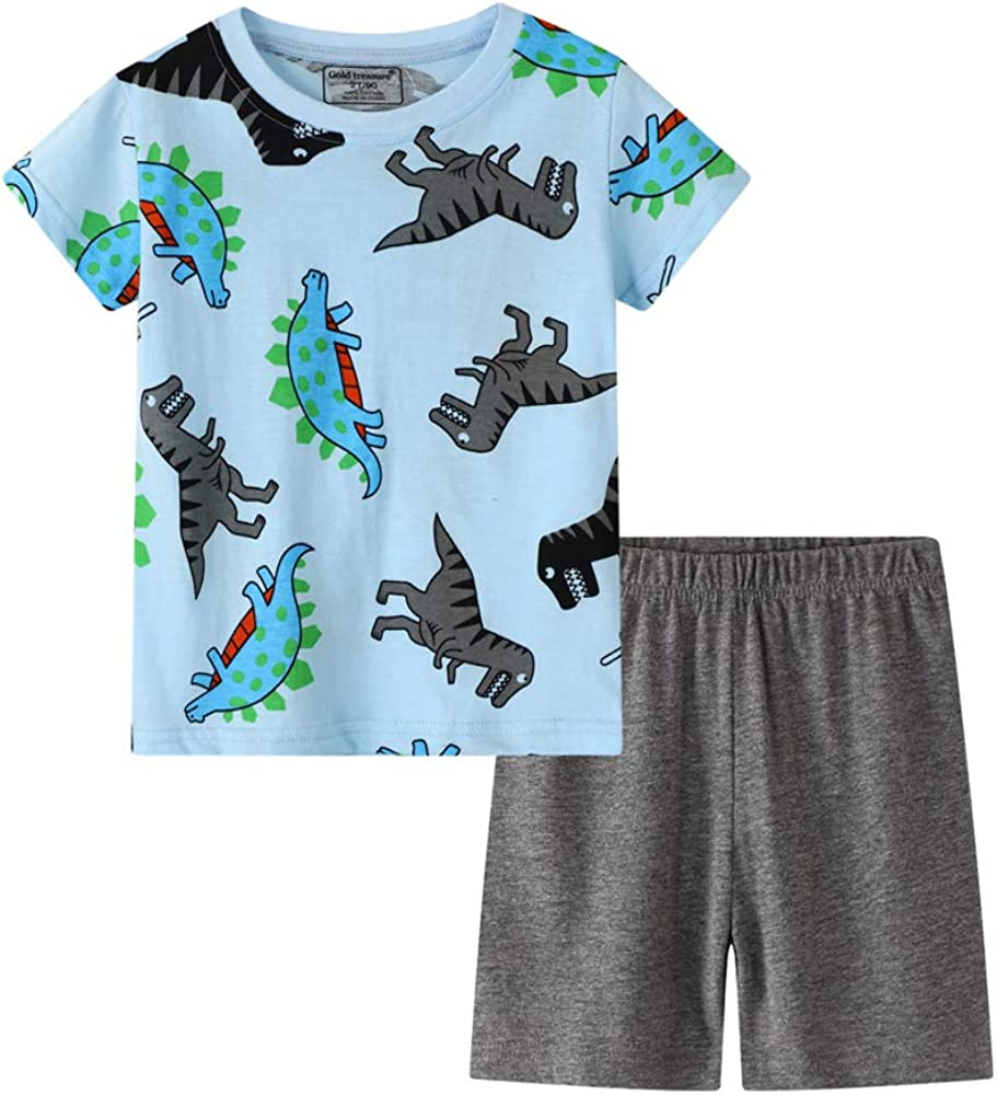 Children Kids Outfit Short Sleeve Tops Round Neck T Shirt Printed Shorts Pants