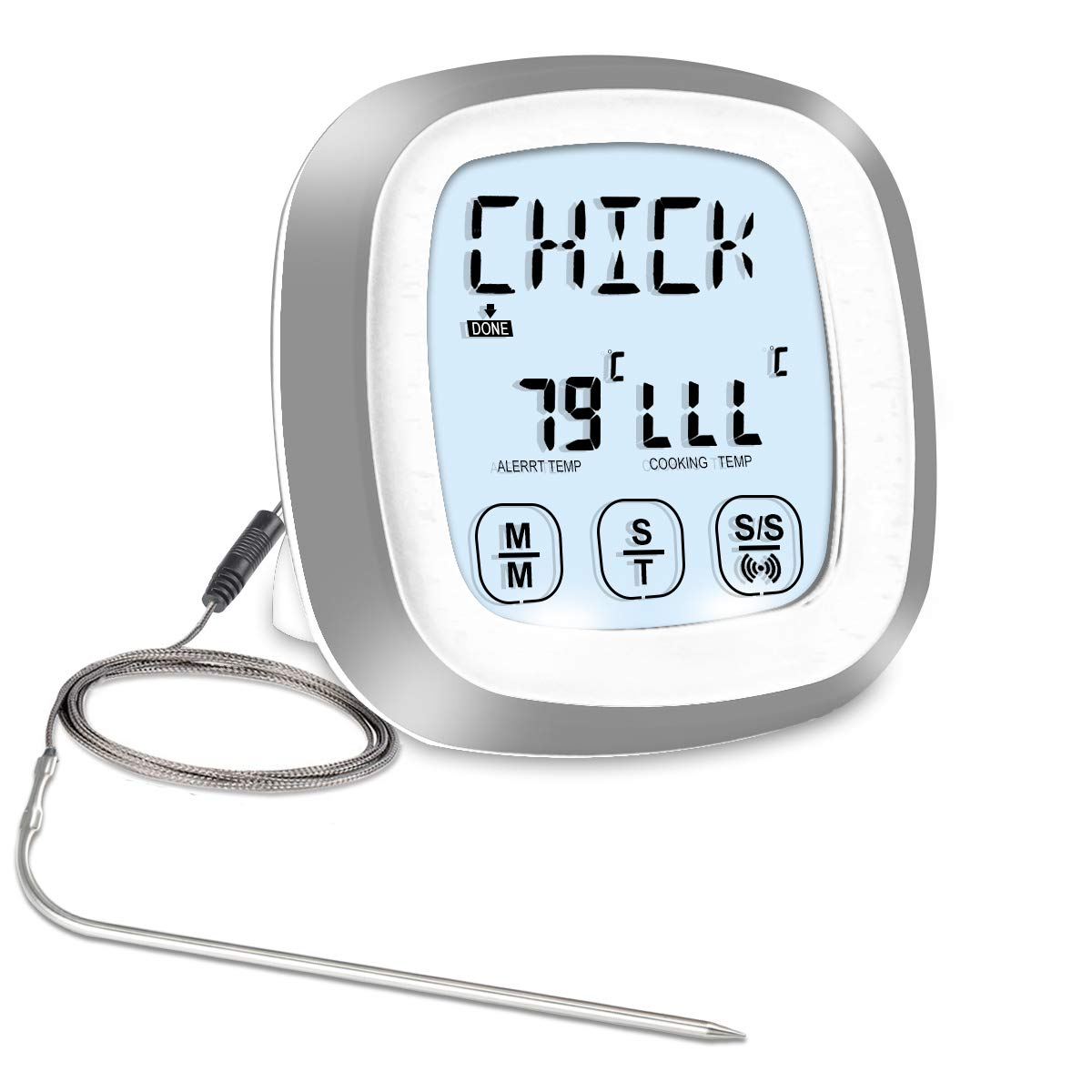 Meat Thermometer, SENGKA Instant Read Food Thermometer Digital Cooking Thermometer with Timer Alert 1 Probe for Oven, Kitchen, Grilling, Smoker(White)