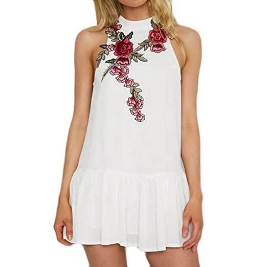 7bc95506062 Amazon.com  NEWONESUN 2018 Fashion Women V-Neck Rose Embroidery Jumpsuit  Summer Loose Playsuit Bodysuit Trousers (Small