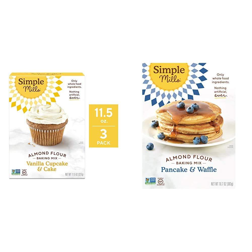Simple Mills Almond Flour Baking Mix, Gluten Free Vanilla Cake Mix, Muffin pan ready, Made with whole foods 3 Count & Almond Flour Pancake Mix & Waffle Mix, Gluten Free