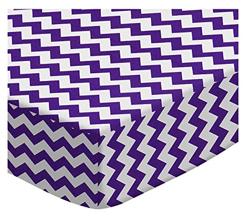 SheetWorld Fitted Portable/Mini Crib Sheet - Purple Chevron Zigzag - Made In USA by SHEETWORLD.COM