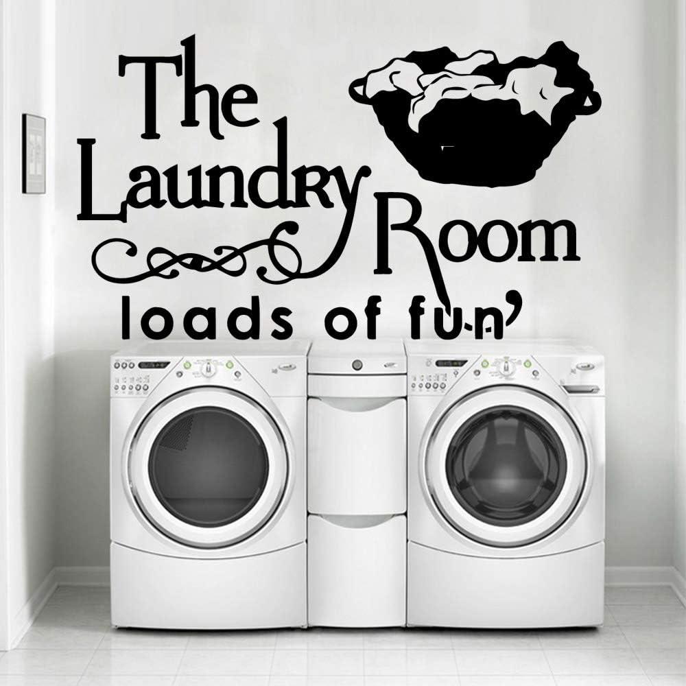 yaonuli Interesante Servicio de lavandería Etiqueta de la Pared decoración del hogar Sala de Estar Dormitorio Etiqueta de la Pared 33x57cm