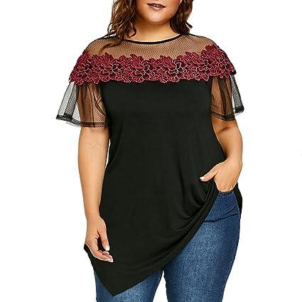 LILICAT® Camisetas Tallas grandes Mujeres, Blusa Blusas bordadas con flores Cuello asimétrico con aplicaciones