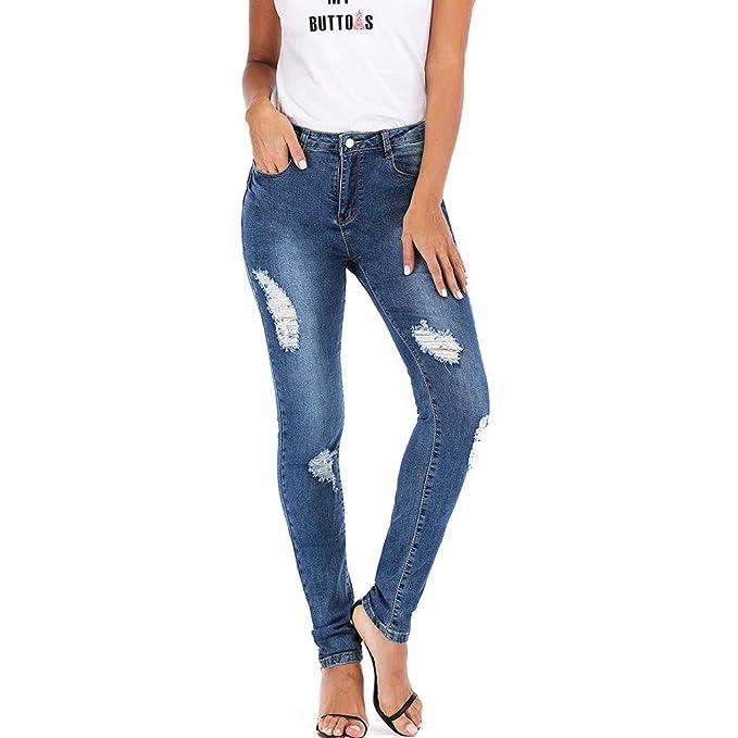 Amlaiworld Pantalones Vaqueros para Mujer, Moda Casual ...