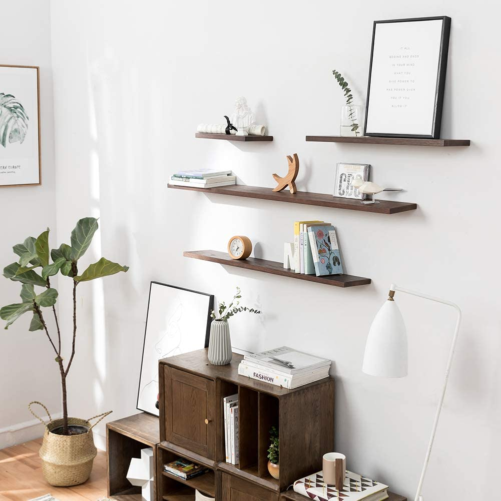 INMAN HOME 30CM Rustic Solid Oak Timber Block Floating Shelf For Wall Concealed Bracket Wall Mounted Shelf Wooden Decorative Hanging Rack Home Storage Organizer Bookcase Storage Picture Ledge Shelf