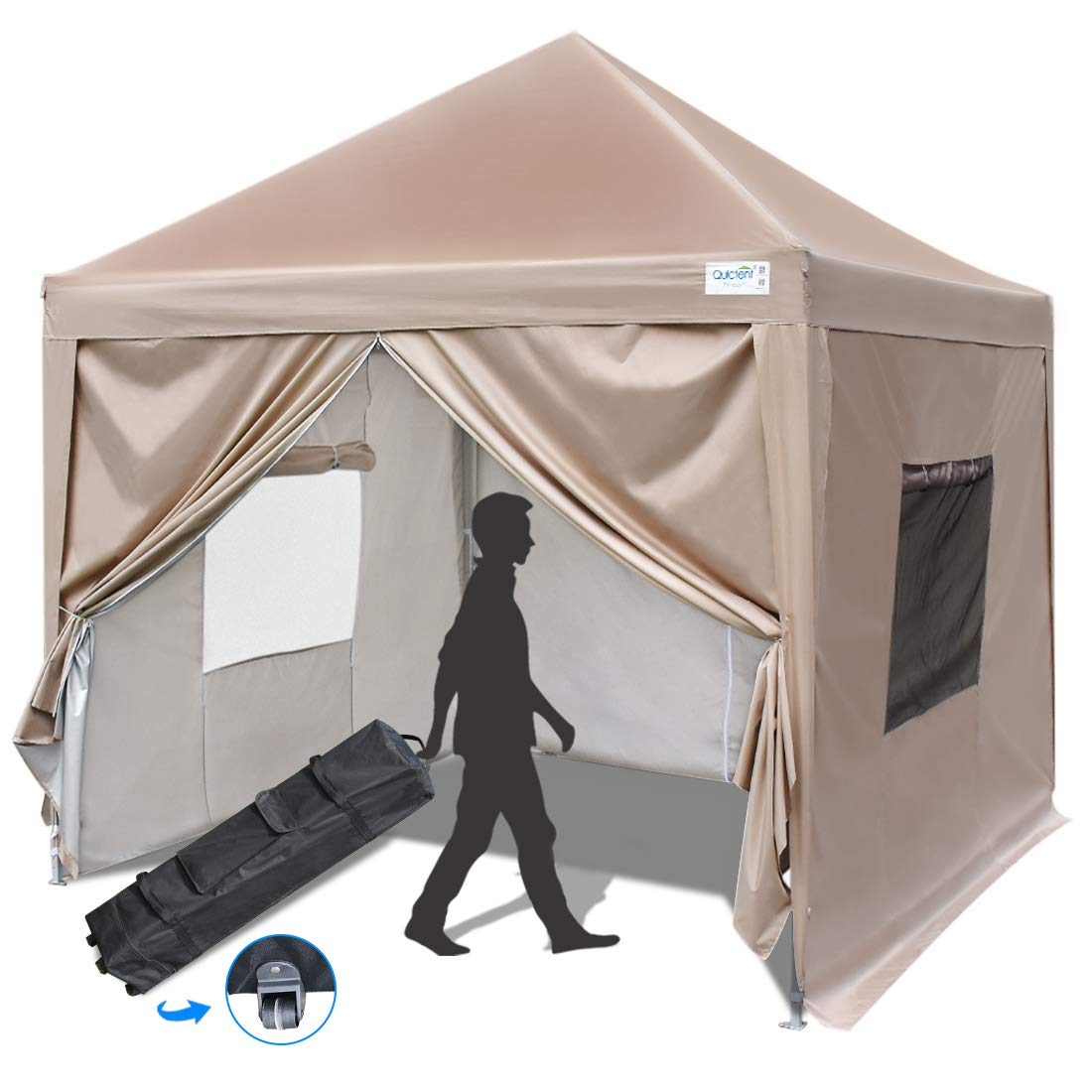 Quictent Upgraded Privacy 8x8 EZ Pop Up Canopy Tent Instant Canopy with 4 Sidewalls, Mesh Windows & Wheeled Bag 100% Waterproof-9 Colors (Beige 1)