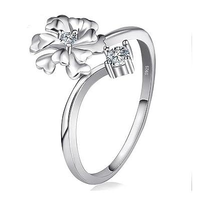 Beydodo Femme Bague Argent 925 Mariage Fleur Zircone Cubique