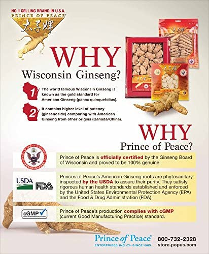 Prince of Peace Wisconsin American Ginseng Large Slices 4oz