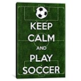iCanvasART 1 Piece Keep Calm & Play Soccer Canvas Print by Kitsch Opus, 40 by 26''/0.75'' Deep