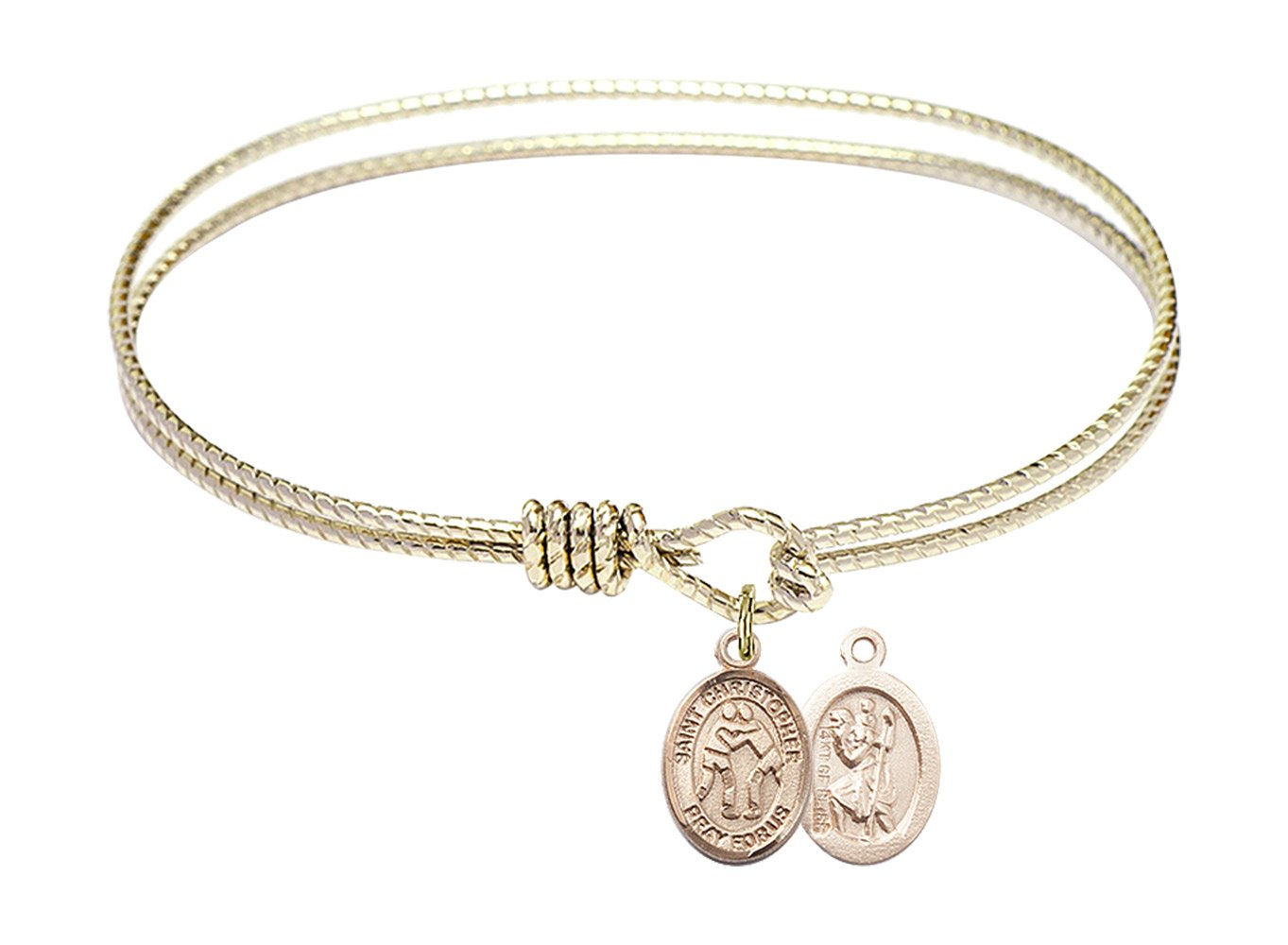 7 1/4 inch Oval Eye Hook Bangle Bracelet w/ St. Christopher/Wrestling in Gold-Filled by Bonyak Jewelry